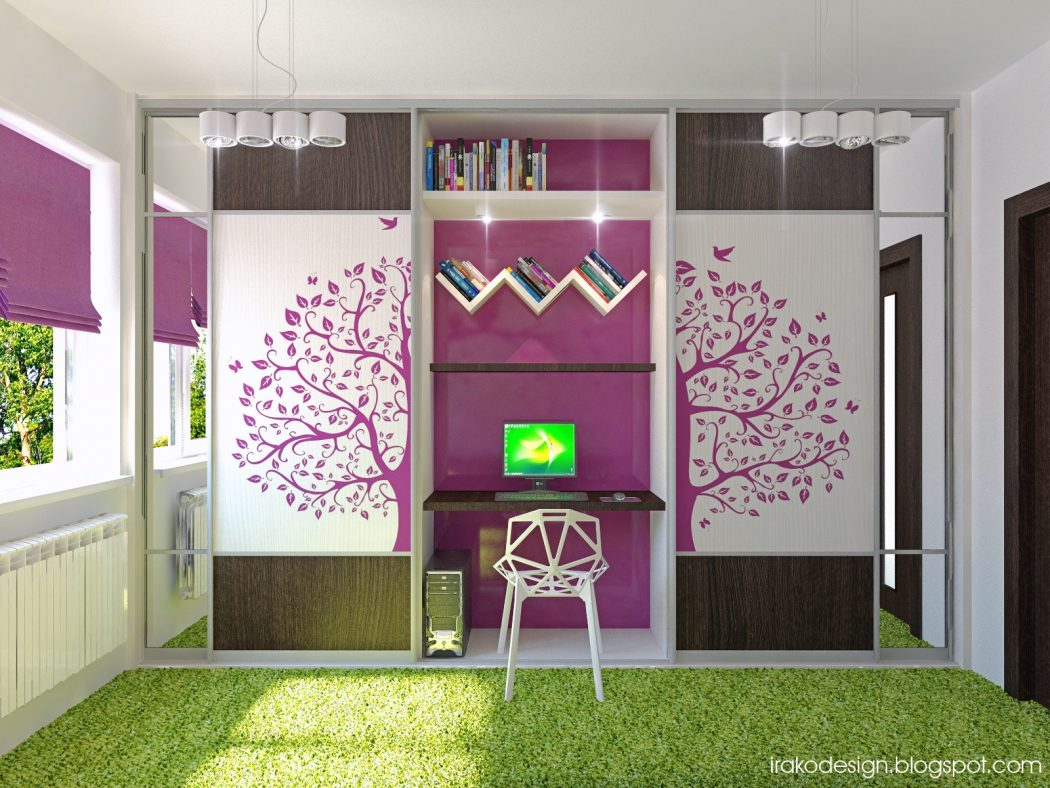 Teens-bedroom-gorgeous-purple-and-white-girls-bedroom-with-tree-decal Girls' Bedroom Decoration Ideas and Tips