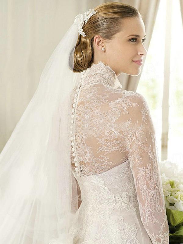 a-line-lace-high-neck-long-sleeve-sweep-bowknot-wedding-dresses-3-511091f2e4f5f 70 Breathtaking Wedding Dresses to Look like a real princess