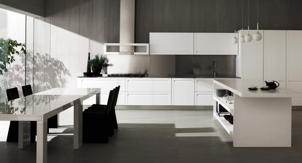 black-cover-dining-chairs-and-white-glossy-dining-table-near-silver-backsplash Breathtaking And Stunning Italian Kitchen Designs