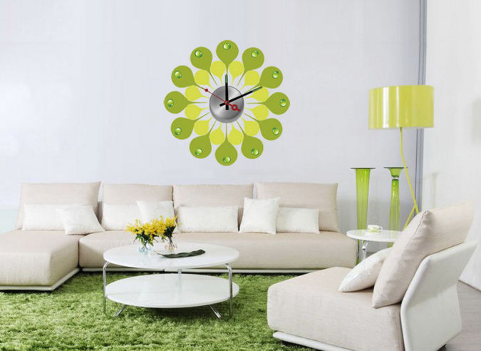 blue_flower_removable_vinyl_kids_bedroom_wall_sticker_clock_for_home_decoration_10a107 Amazing and Catchy Wall Stickers for Home Decoration