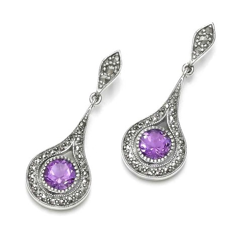 bohemian_amethyst_marcasite_sterling_silver_earrings-475x475 How To Use Silver Accessories In Different Occasions ?