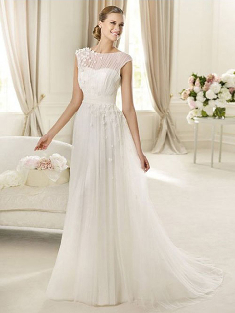 chiffon-and-lace-jewel-neckline-a-line-style-with-floral-decoration-on-shoulder-2013-wedding-dresses-604176 70 Breathtaking Wedding Dresses to Look like a real princess