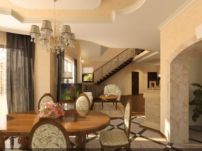 classic-suspended-ceiling-lights-and-round-dining-table-set-plus-floral-dining-chairs-cushions-in-open-space Awesome and Dazzling Suspended Ceiling Decorations