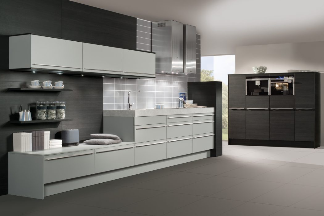 Kitchen design at its best concrete grey laminate base and for Black white and gray kitchen design