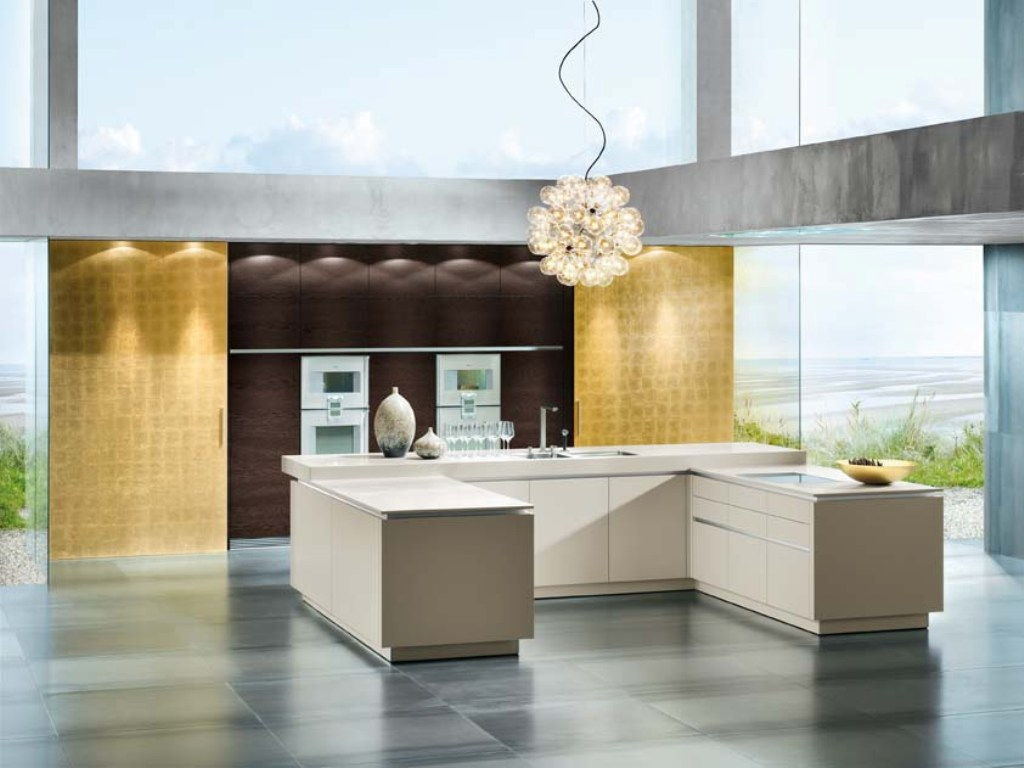 kitchen-with-panna-units-and-dark-oak-wall-pannel-with-gold-sliding-doors Awesome German Kitchen Designs