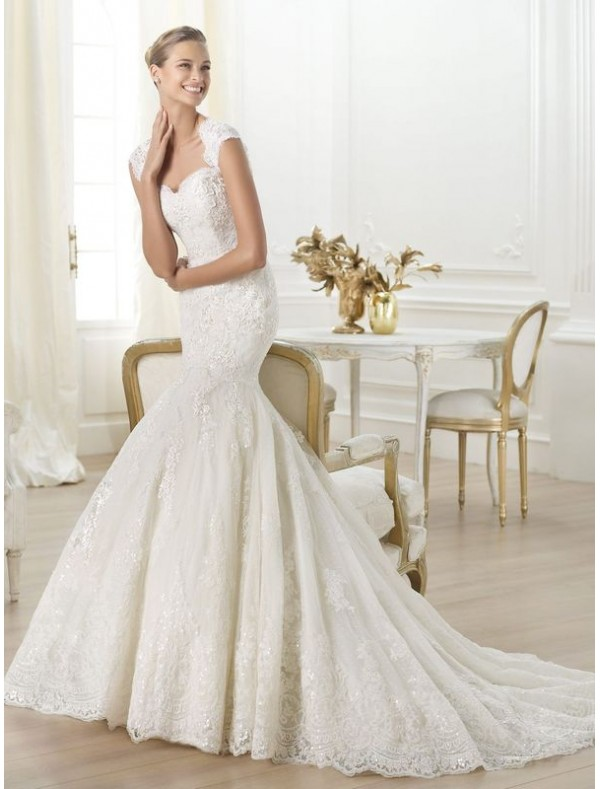 lace-sweetheart-mermaid-wedding-dress-with-cap-sleeves-ps0027 70 Breathtaking Wedding Dresses to Look like a real princess