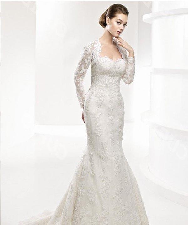 long-sleeves-wedding-dresses-mermaid-skirt 70 Breathtaking Wedding Dresses to Look like a real princess