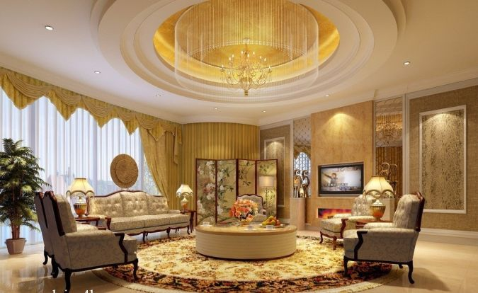 modern-round-pop-ceilings-design-for-living-room-with-sofa-sets Awesome and Dazzling Suspended Ceiling Decorations