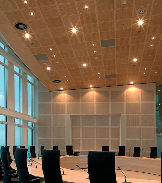 perforated-acoustic-wooden-suspended-ceiling-tile Awesome and Dazzling Suspended Ceiling Decorations
