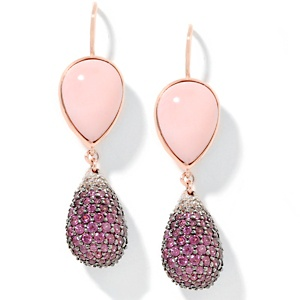 rarities-fine-jewelry-with-carol-brodie-pink-opal-and-gemstone-rose-vermeil-drop-earrings138724 How To Use Earrings With Straight Hair, Tied or with Veil
