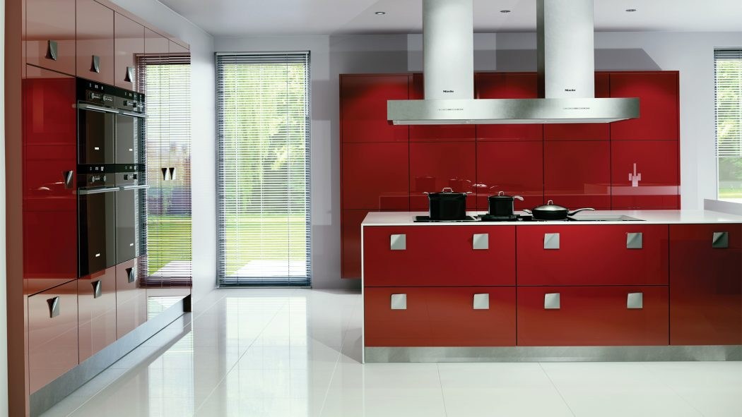 red-and-white Awesome German Kitchen Designs