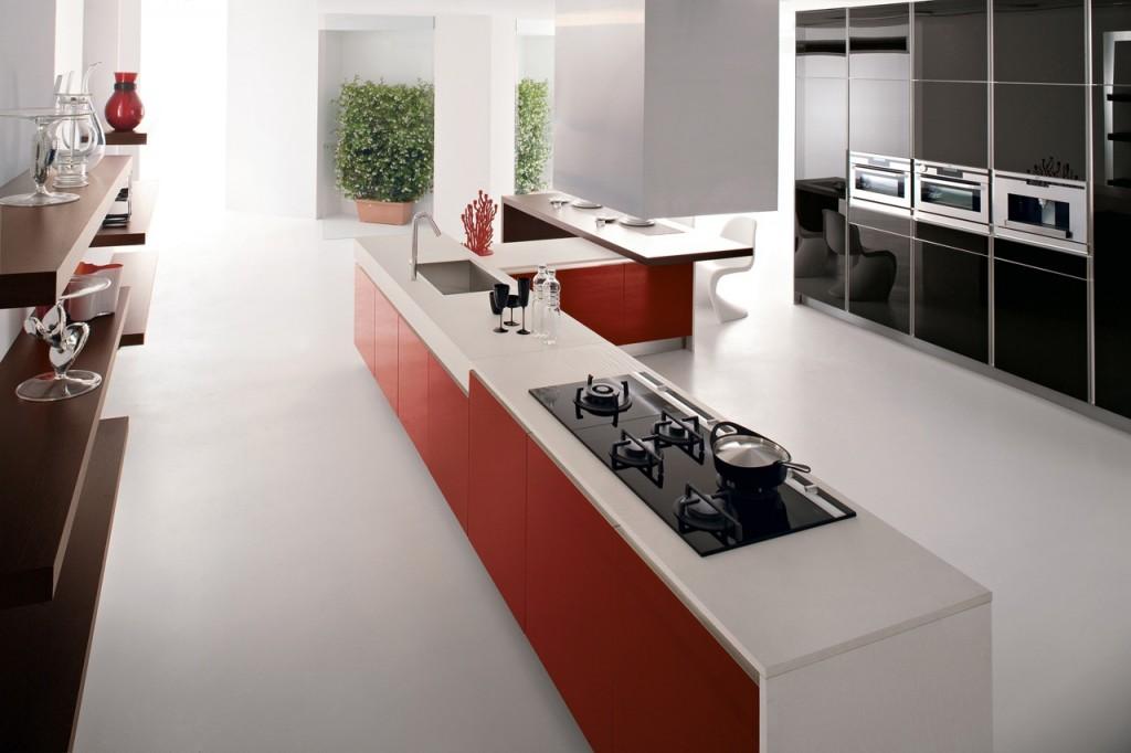 red-kitchen-island-with-white-corian-worktop-near-black-glossy-kitchen-cabinet-design Breathtaking And Stunning Italian Kitchen Designs