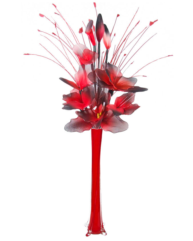 red_black_artificial_flowers_arrangement How to Decorate Your Home Using Flowers
