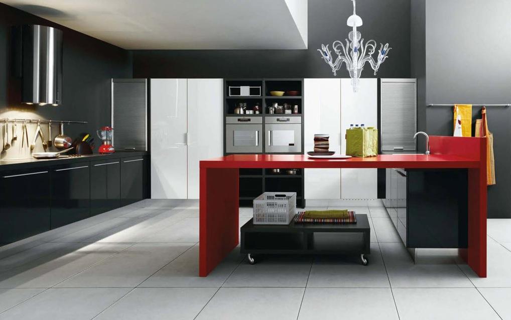 retro-black-red-white-delightful-kitchen Awesome German Kitchen Designs