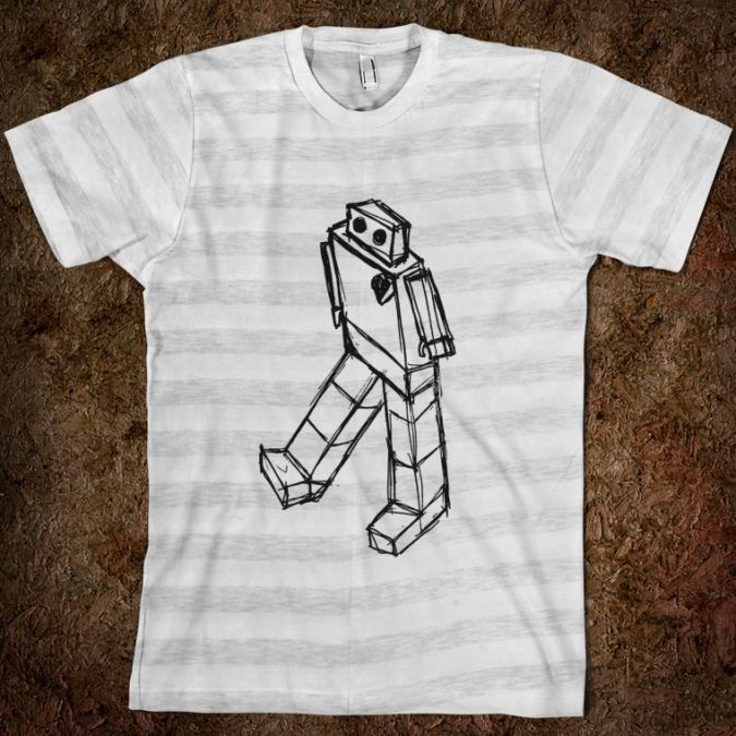 robot-drawing.american-apparel-unisex-fitted-tee.ash-white-stripe Best 10 Robot Gift Ideas