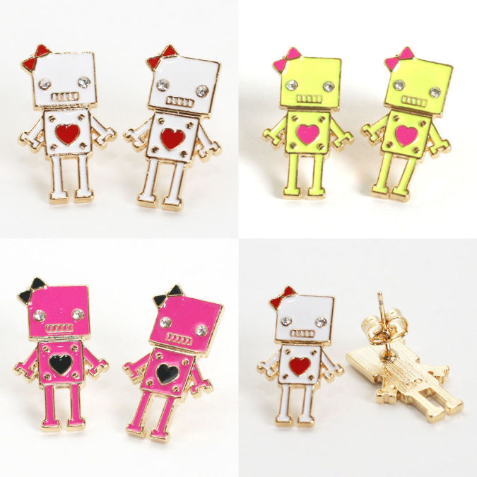 robot_studed_earrings_neon_robot_earrings_white_neon_yellow Best 10 Robot Gift Ideas