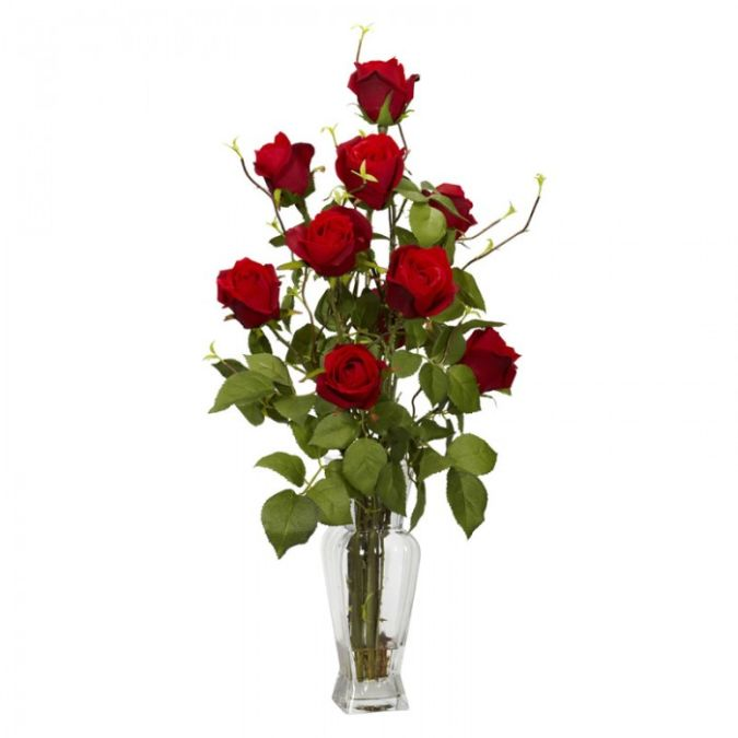 rose-with-vase-silk-flower-arrangement How to Decorate Your Home Using Flowers