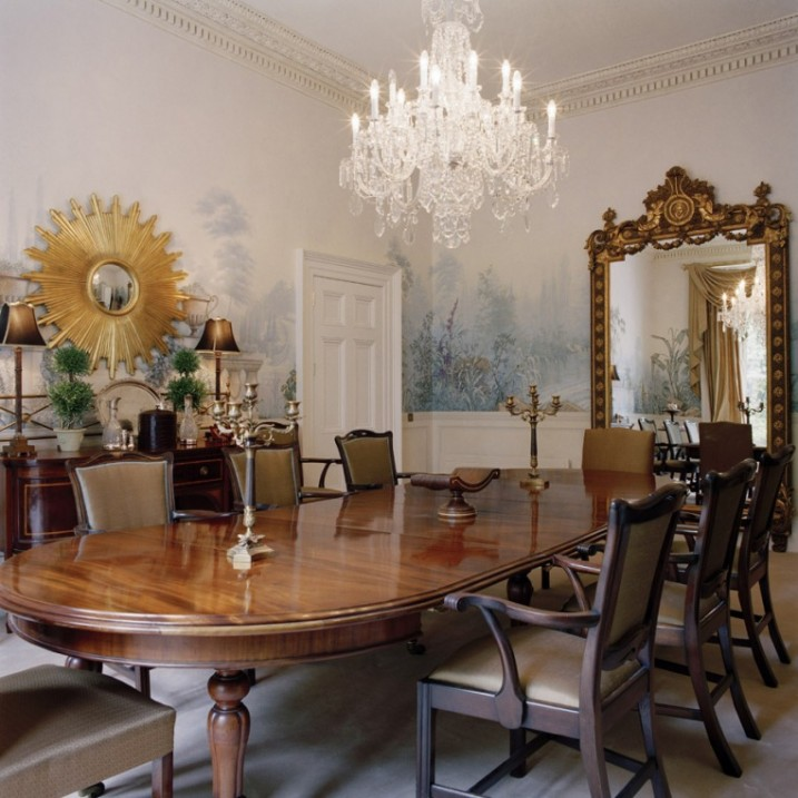 terrific-traditional-natural-style-dining-room-gilded-mirror-wallpaper-murals-frescos-degournay-decorating-ideas Stunning And Contemporary Victorian Decorating Ideas
