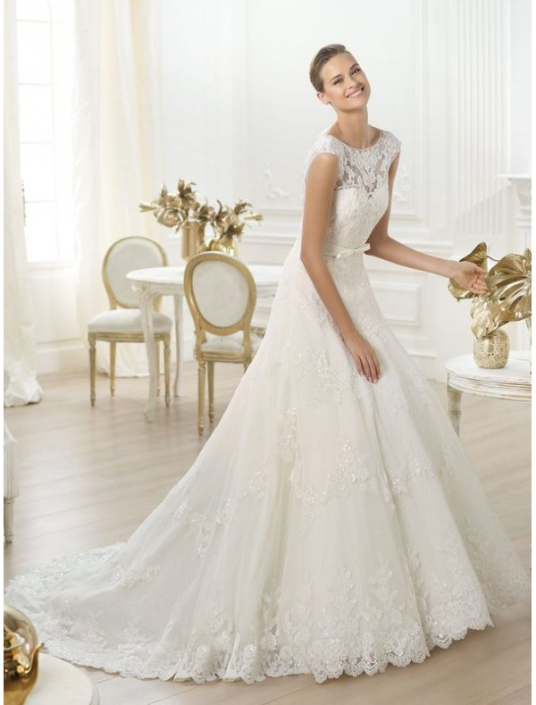 tulle-and-lace-jewel-neckline-a-line-wedding-dress-with-cap-sleeves-ps0026 70 Breathtaking Wedding Dresses to Look like a real princess