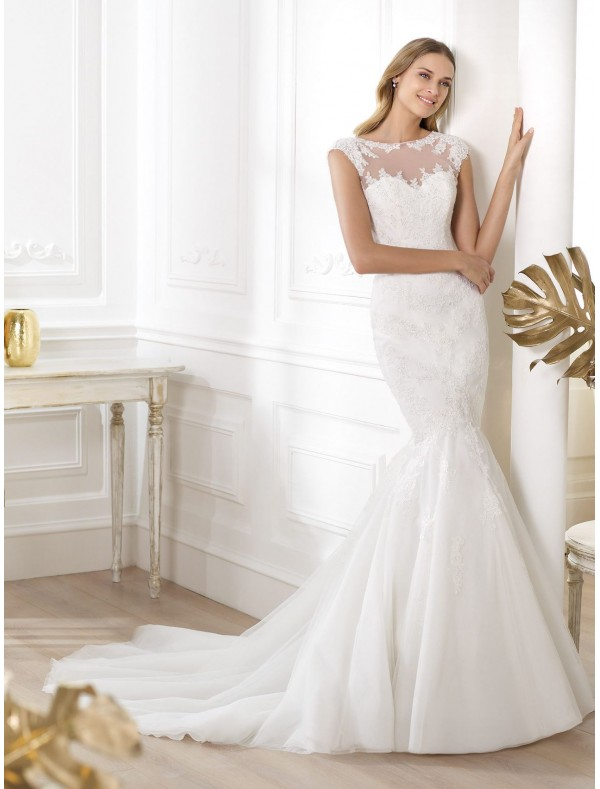 tulle-and-lace-jewel-neckline-wedding-dress-with-cap-sleeves-ps0008. 70 Breathtaking Wedding Dresses to Look like a real princess