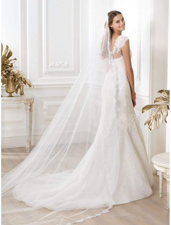 tulle-and-lace-jewel-neckline-wedding-dress-with-cap-sleeves-ps0008 70 Breathtaking Wedding Dresses to Look like a real princess