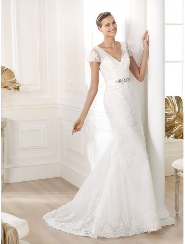 tulle-v-neck-wedding-dress-with-cap-sleeve-ps0035 70 Breathtaking Wedding Dresses to Look like a real princess