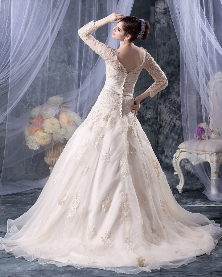 v-neck-organza-applique-beading-long-sleeve-a-line-wedding-dress-1 70 Breathtaking Wedding Dresses to Look like a real princess