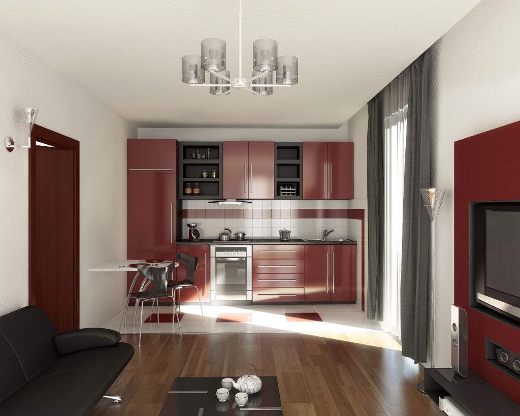 white-black-and-red-modern-style-kitchen-with-single-room-living-for-2013-inspiration-design Frugal And Stunning kitchen decoration ideas