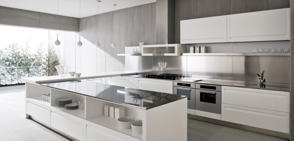 white-kitchen-design-with-outdoor-view-plus-unique-ceiling-lamp-for-kitchen-lighting Breathtaking And Stunning Italian Kitchen Designs