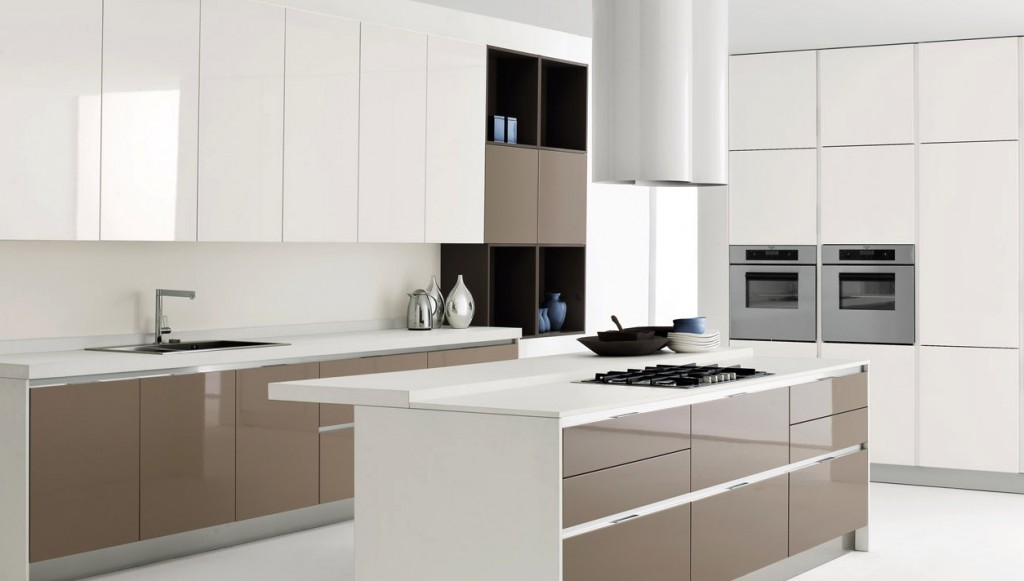 White kitchen island with brown kitchen cabinet design for Kitchen design white