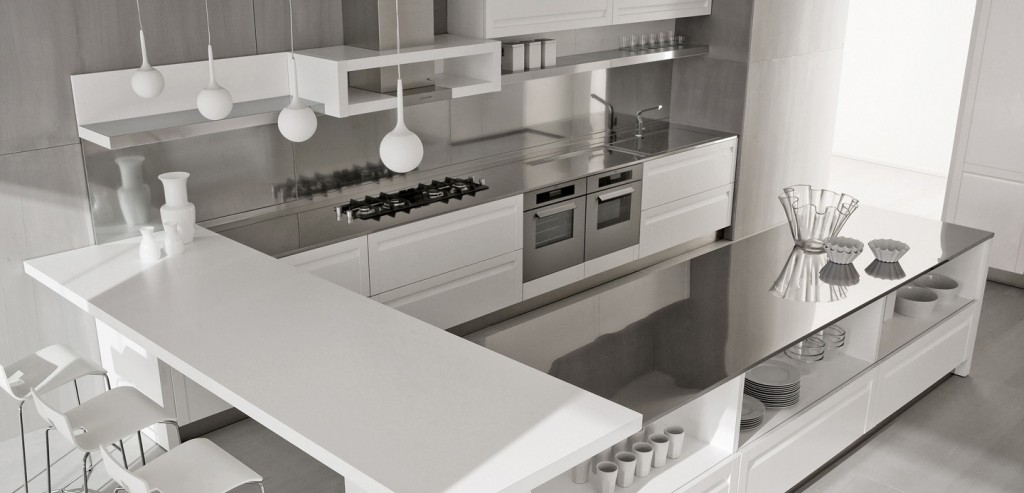 White kitchen island with stainless steel backsplash and for Italian kitchen cabinets online