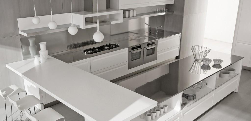 white-kitchen-island-with-stainless-steel-backsplash-and-three-bar-stools-furniture Breathtaking And Stunning Italian Kitchen Designs