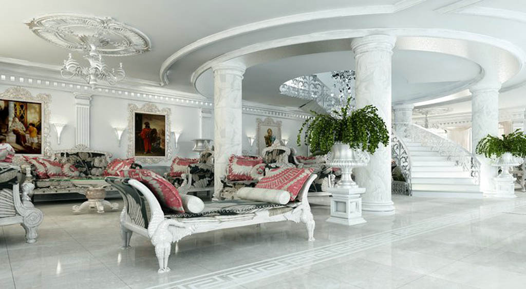 white living room idea interior victorian marble