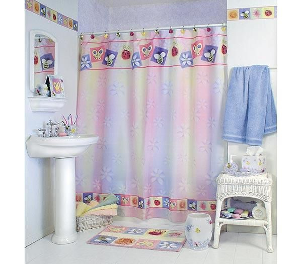128928525_bugs-in-bloom-bath-shower-curtain-butterfly-bee-daisy- Curtains' Designs For Bathrooms And Showers