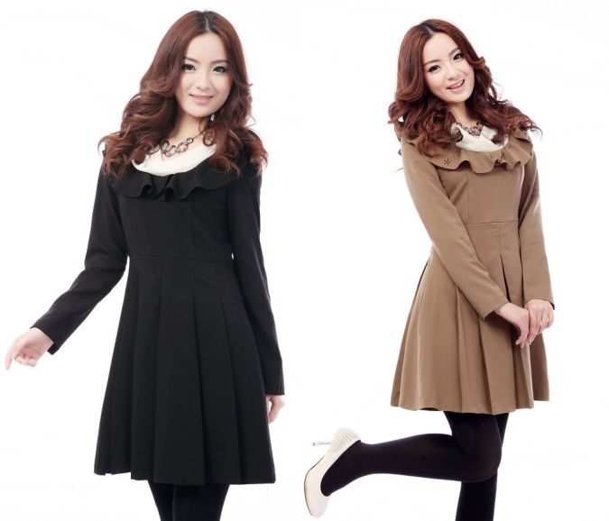 2012-autumn-slim-formal-brief-sweet-ruffle-collar-long-sleeve-dress-lady-s-fashion-dress-women Most Popular Formal Clothes For Women