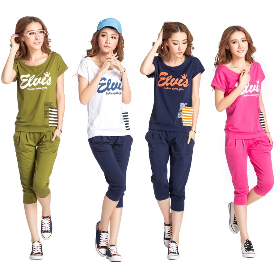 2013-summer-short-sleeve-sportswear-set-casual-sweatshirt-set-female-summer-fashion-short-sleeve-women-s Collection Of Sportswear For Women, Feel The Sporty Look
