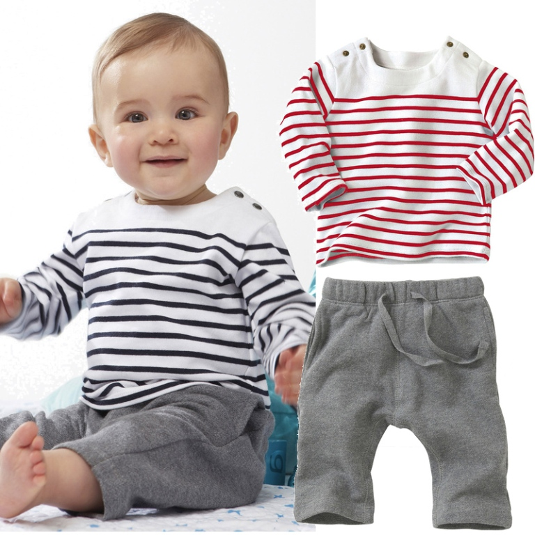 Baby-Boys-Girls-Clothing-Set-T-shirts-Pants-Long-Sleeve-Striped-Fashion Most Stylish American Kids Clothing