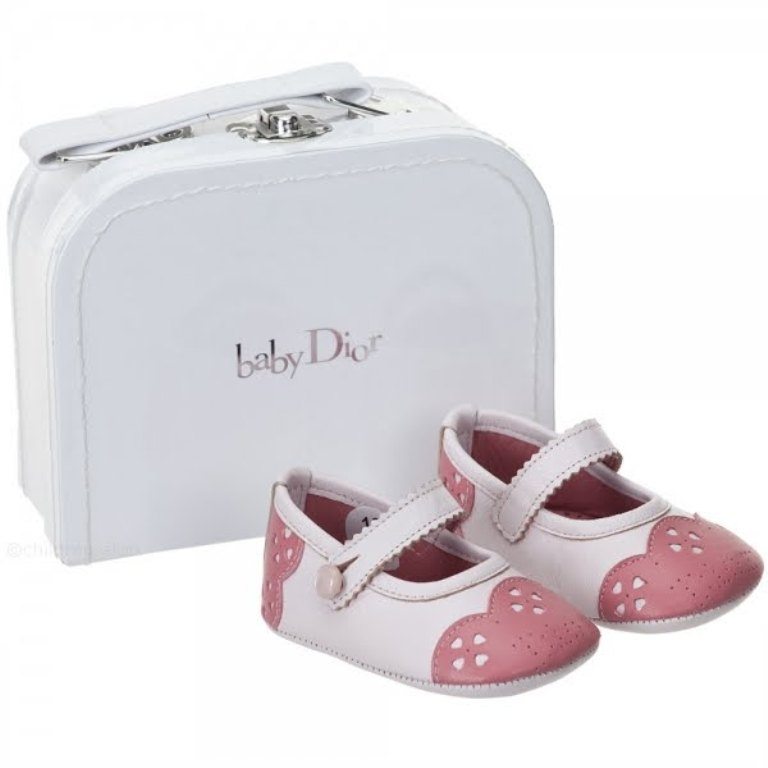 Baby-Dior-Pink-Leather-Pre-Walker-Shoes TOP 10 Stylish Baby Girls Shoes Fashion