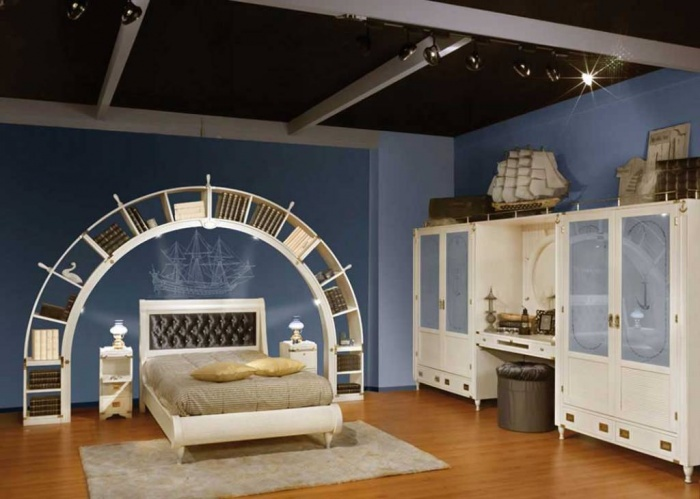 Blue-and-White-Sea-Theme-Kids-Bedroom-Design Fascinating and Stunning Designs for Children's Bedroom
