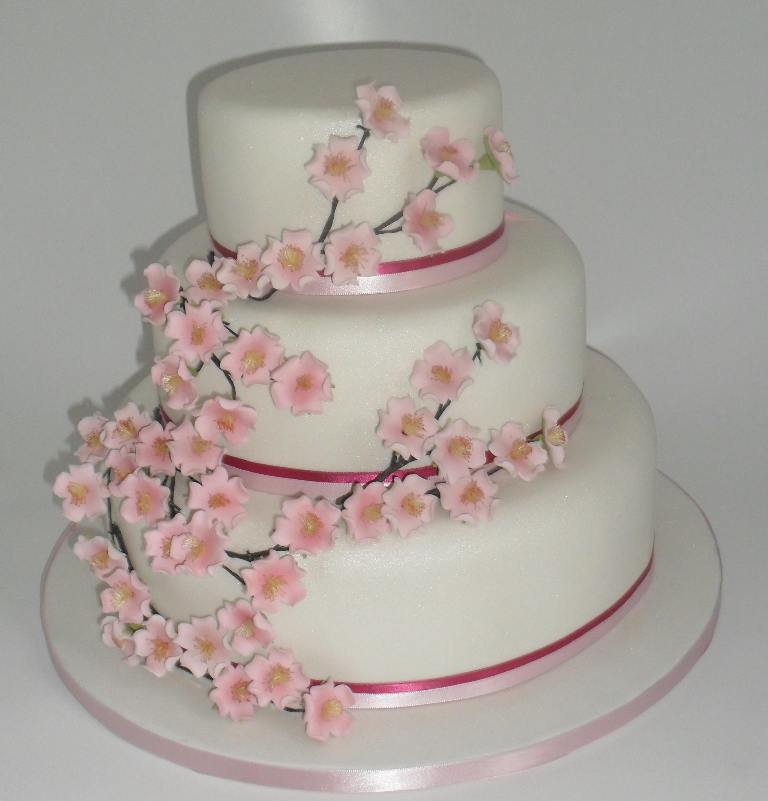 Cherry-Blossom-Wedding-Cake 50 Mouthwatering and Wonderful Wedding Cakes