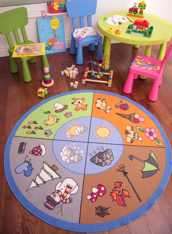 Circles_Seasons_Kids_Rugs Kids' Rugs Are Not Just For Decoration, But An Educational Method