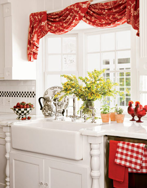 Country-Kitchen-Curtains-Red Kitchen Window's Curtain For Privacy And Decoration