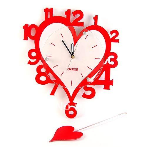 Creative-fashion-wall-clock-clock-pastoral-heart-shaped-red-digital-clock-JH012998 15 Amazing Wall Clocks Will Be Pieces Of Art In Your Home