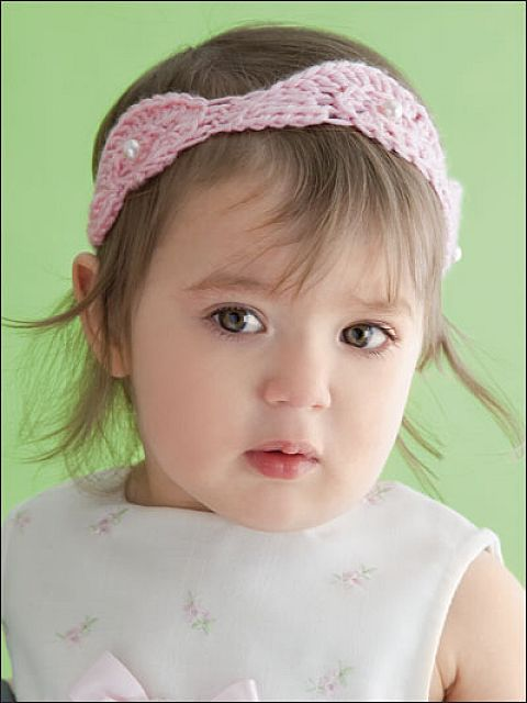 Crochet-Baby-Girl-Headband-Pattern-Pink-Colors Babies' Charming Hairstyles