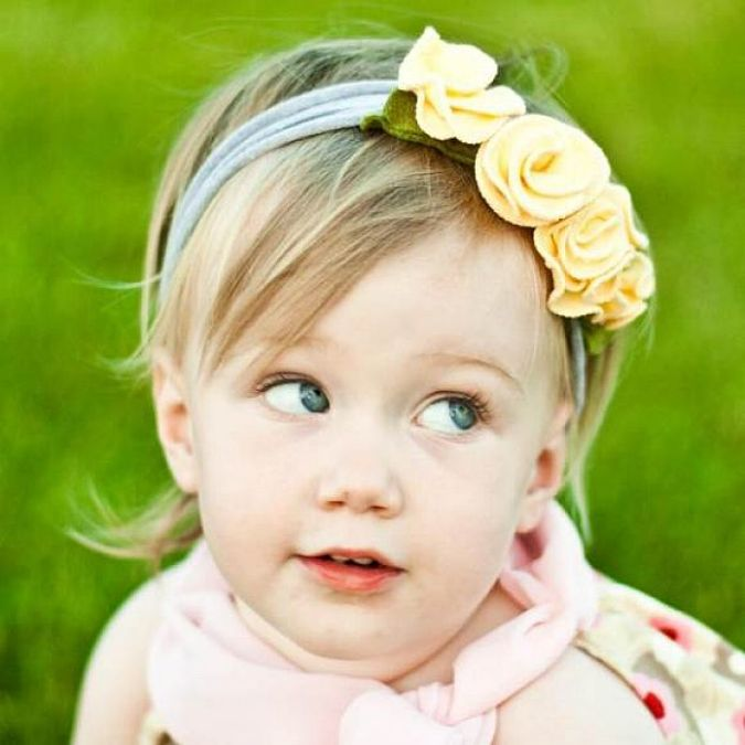 Flower-Baby-Soft-Headbands-in-Yellow Babies' Charming Hairstyles