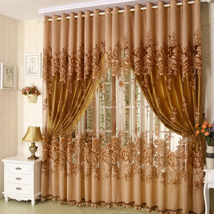Free shipping quality burntout screens living room fabric for Living room curtain fabric