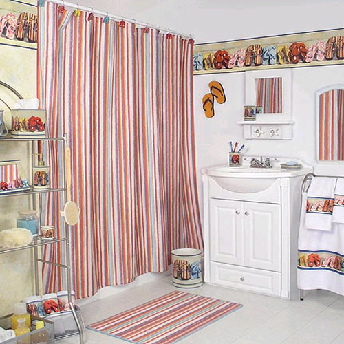 Kids-Bathroom-Sandal-Theme-And-Striped-Curtains Curtains' Designs For Bathrooms And Showers