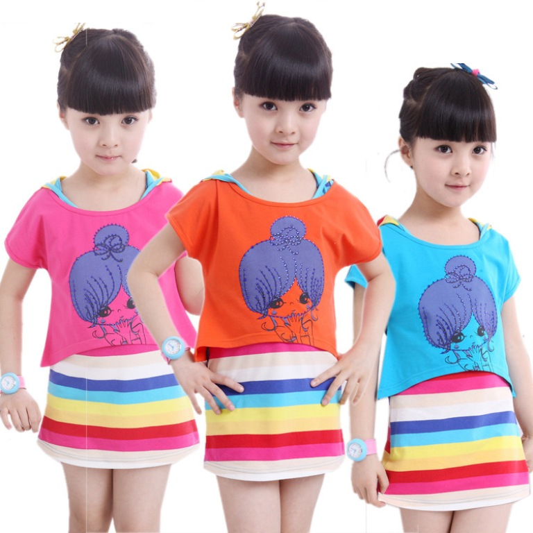 Kids-dress-clothing-girls-summer-rainbow-striped Gorgeous Rainbow Kids Clothing