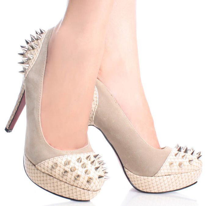 Lori-01-Beige-Suede-Snake-Womens-Designer Wearing High Heels Makes You Look Slimmer
