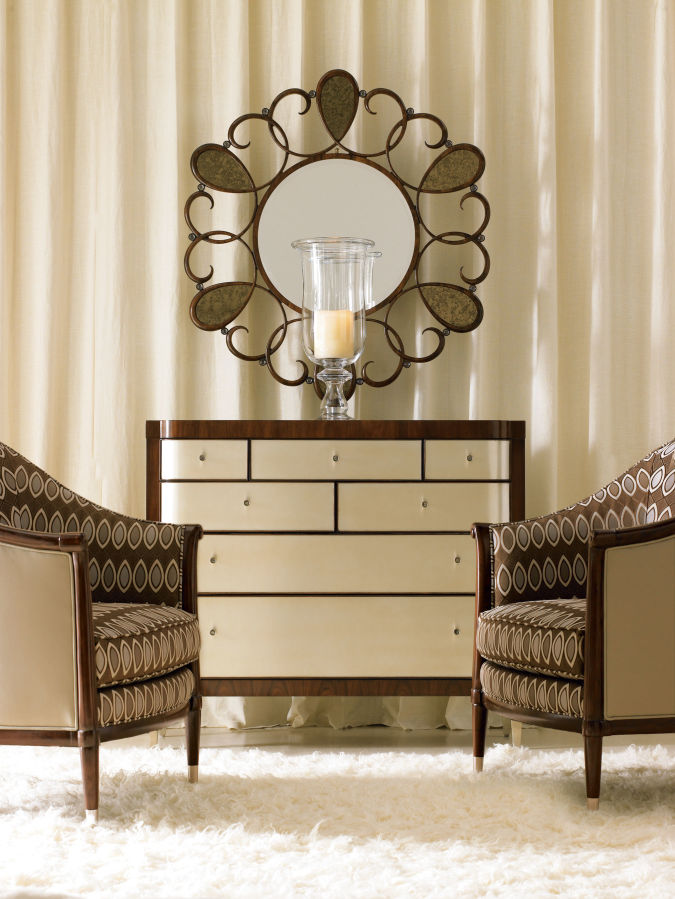 Mirror-with-classic-chairs-in-living-room Make a Big Difference In Your Home By Adding Mirrors